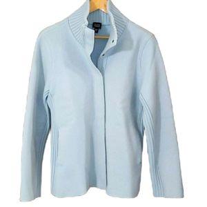 Eileen Fisher 100% wool light blue jacket
